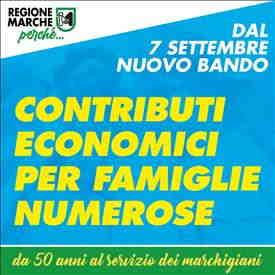 Emergenza Covid-19: 200 mila euro di contributi per le famiglie numerose. Avviso pubblico dal 7 al 21 settembre