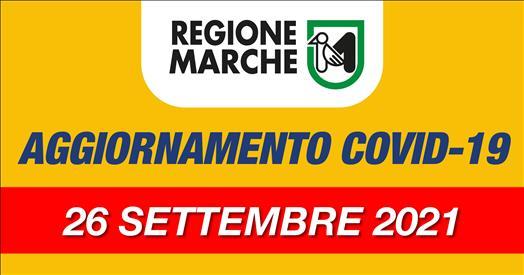 Coronavirus Marche: aggiornamento dati dal Servizio Sanità - situazione al 26/09/2021 ore 12.00
