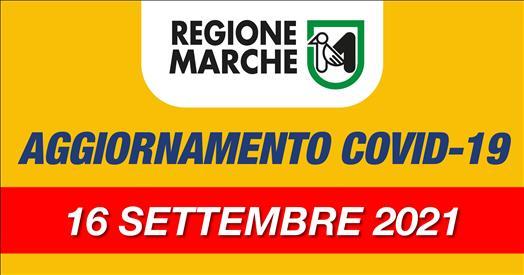 Coronavirus Marche: aggiornamento dati dal Servizio Sanità - situazione al 16/09/2021 ore 12.00