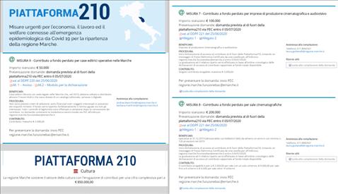 Piattaforma210 - aperte le misure per il settore CULTURA: 7 (imprese di produzione cinematografica e audiovisivo), 8 (sale cinematografiche), 9 (case editrici)