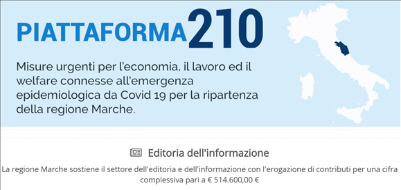 Piattaforma210: aperte anche le misure 44-50 per editoria dell'informazione e giornalisti