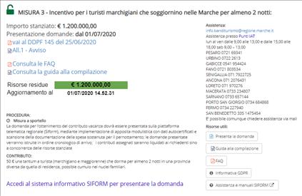 Piattaforma210: aperta la misura 3 per i turisti marchigiani in soggiorno nelle Marche per almeno 2 notti