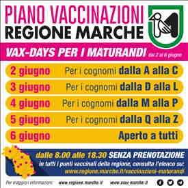 Vax Days per i maturandi delle Marche: dal 2 al 6 giugno dalle 8 alle 18:30 e senza prenotazione potranno accedere ai punti vaccinali