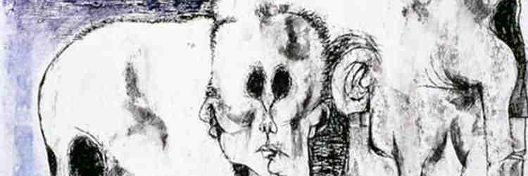 Tulio Pericoli, Testa d'uomo di profilo, tempera inchiostro di china su carta, 1964, Ascoli Piceno