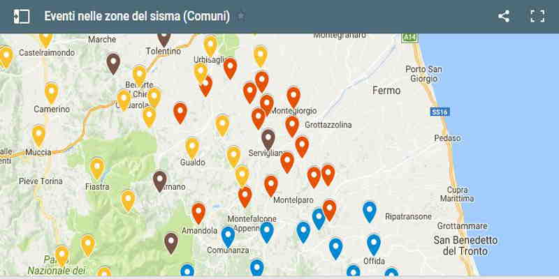 Mappa eventi nelle zone del sisma Comuni