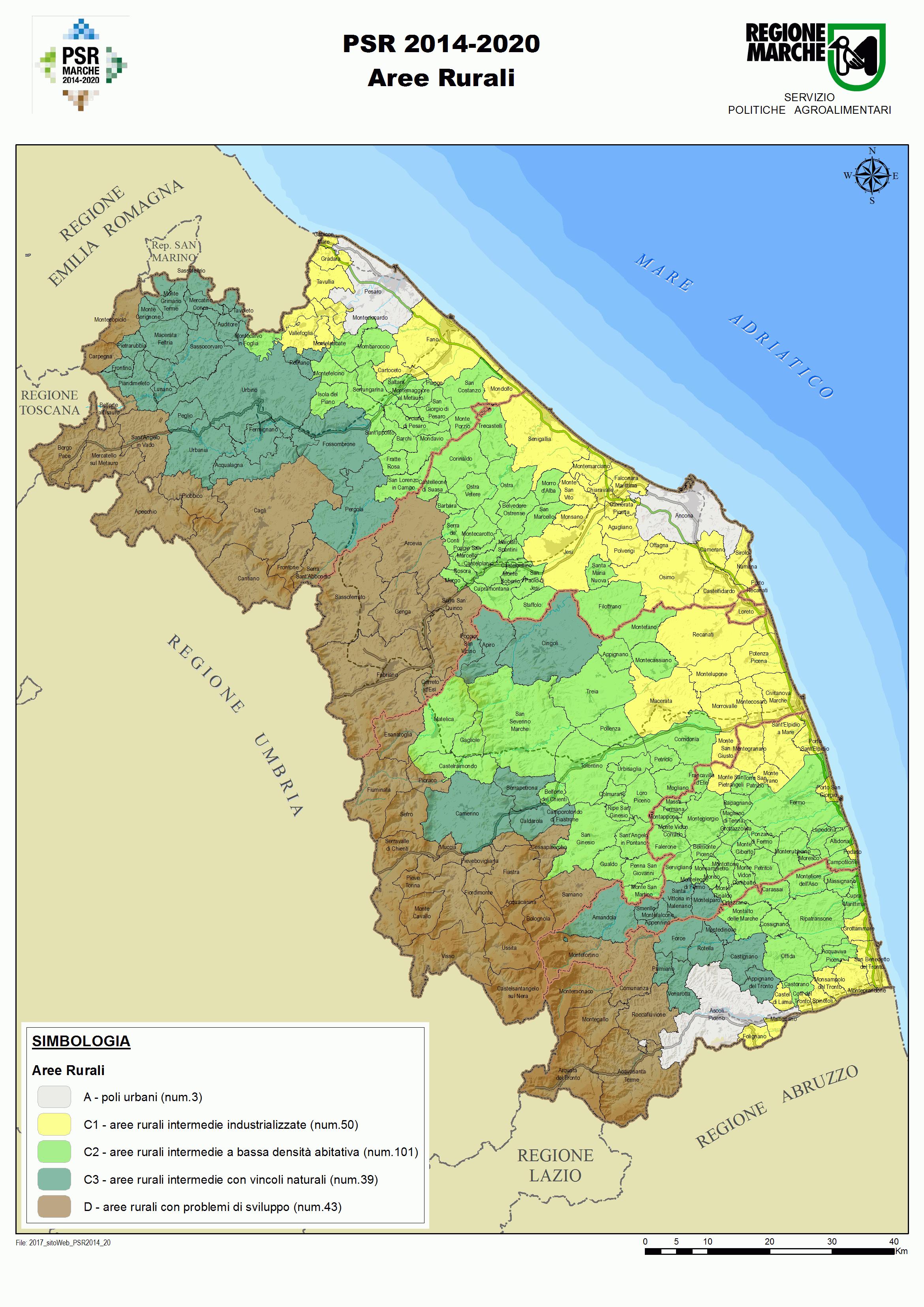 Cartina delle aree rurali della regione Marche