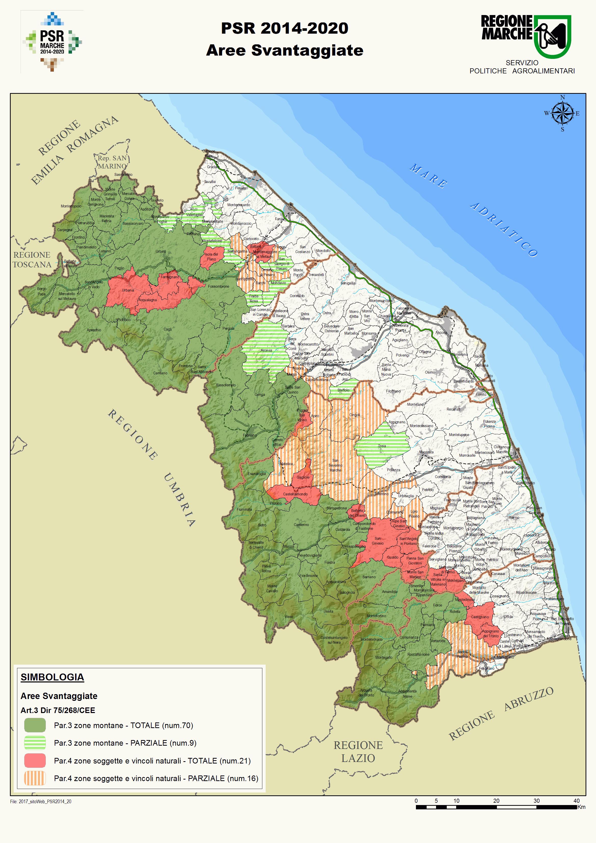 cartina delle aree svantaggiate della regione Marche