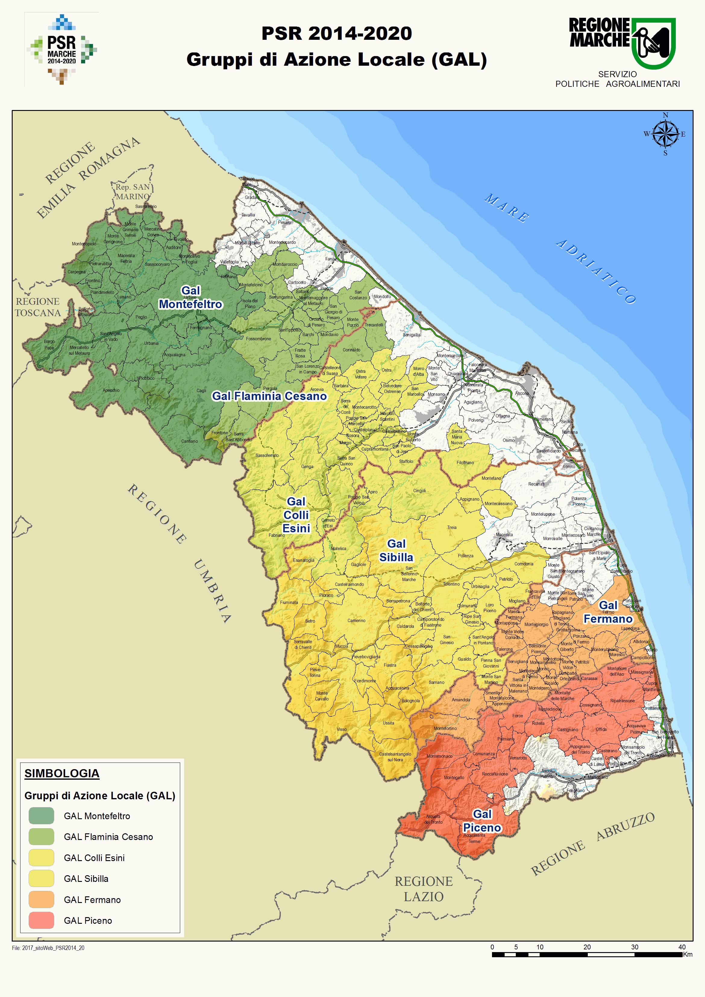 cartina dei Gruppi di Azione Locale della regione Marche