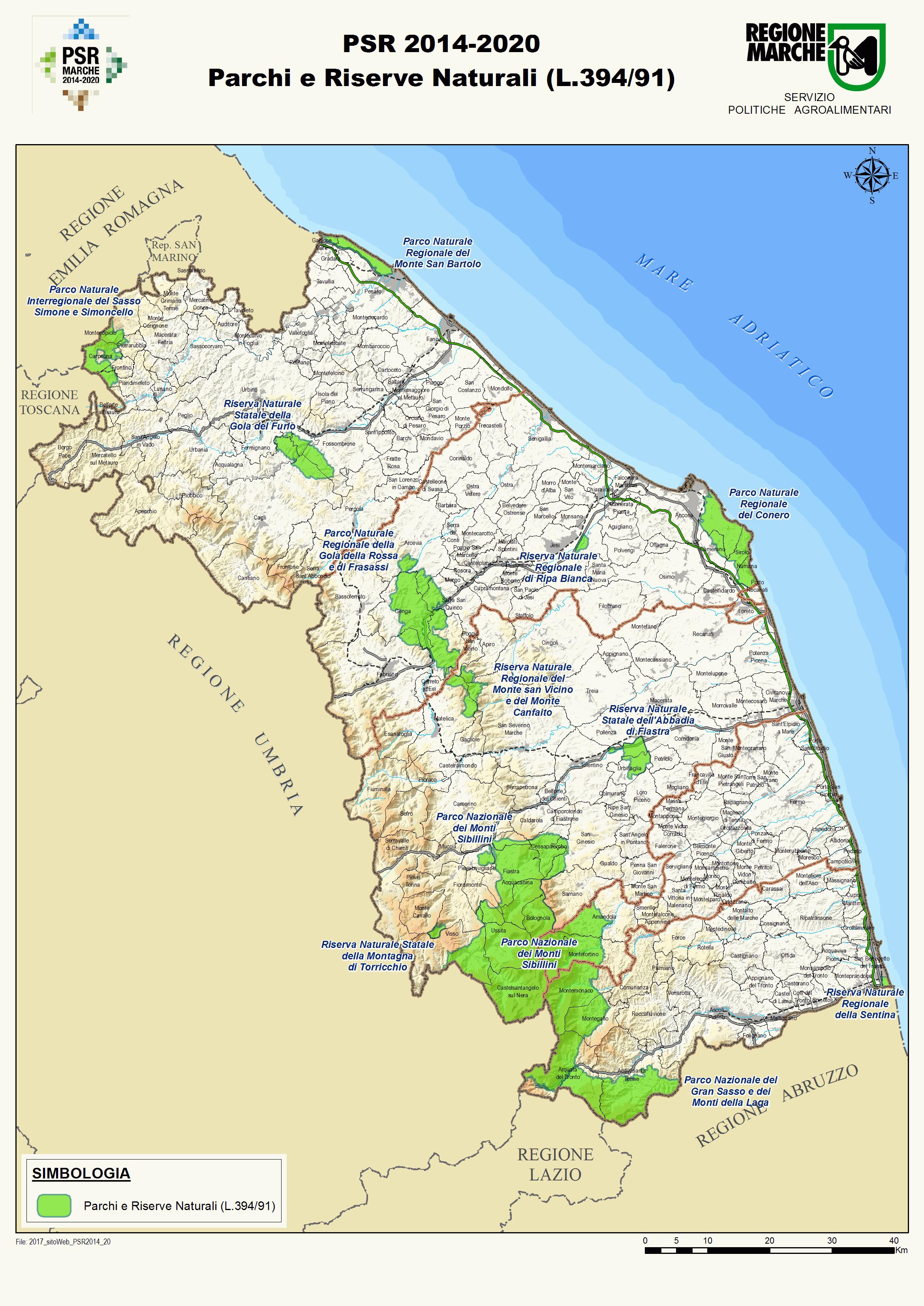 Cartina dei parchi e delle riserve naturali della regione Marche