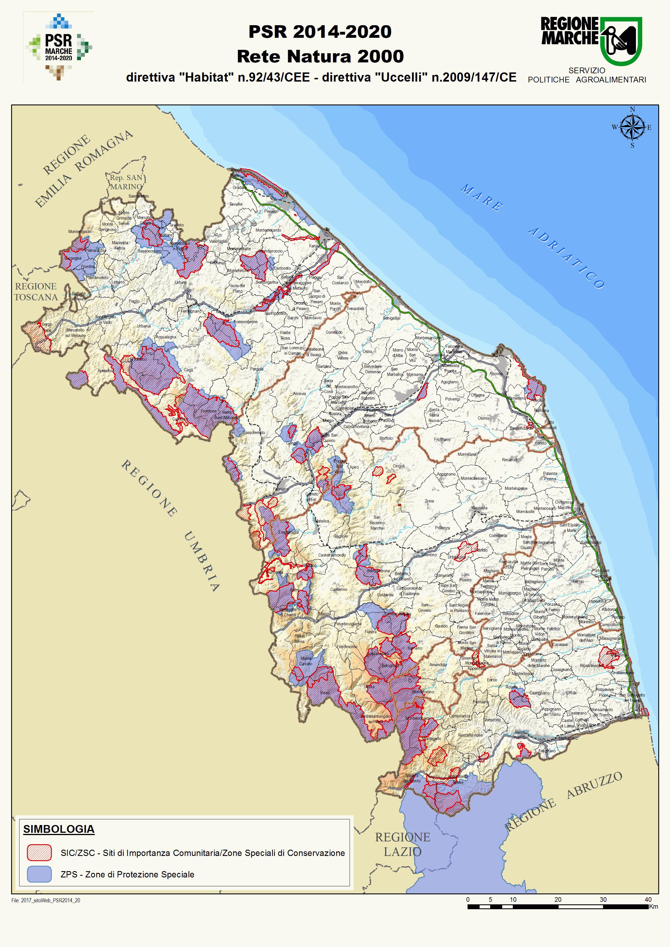 Cartina delle aree Natura 2000 della regione Marche