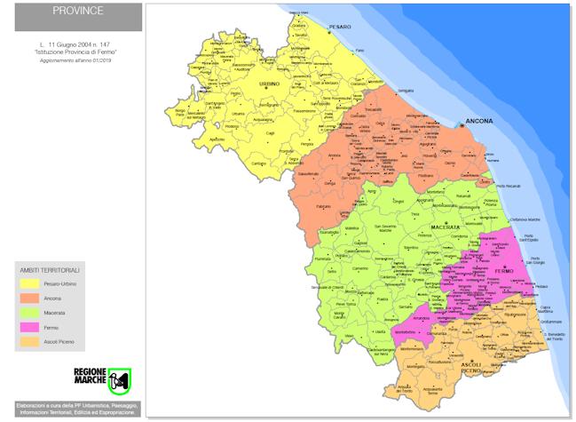 Marche Cartina Province.Province Marche Mappa