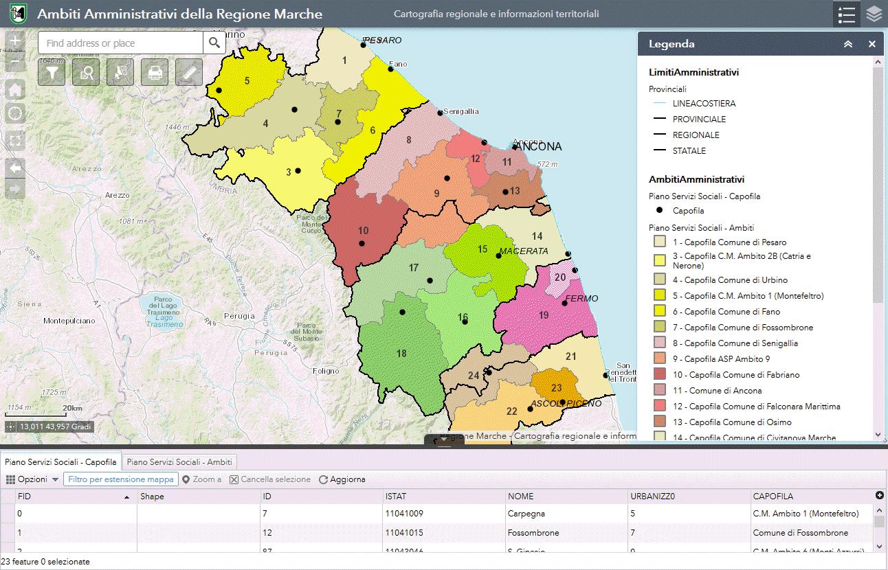 Cartina Politica Regione Marche.Web Gis