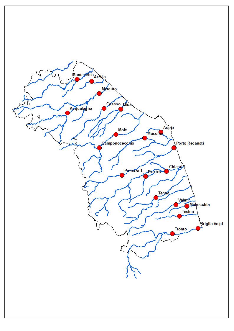 Mappa degli idrometri significativi utilizzati per il monitoraggio durante gli eventi meteo-idro dal Centro Funzionale della Protezione Civile della Regione Marche