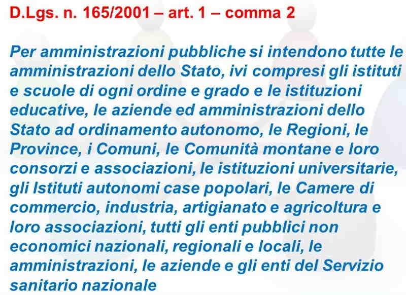Pubbliche Amministrazioni ai sensi del D.Lgs. n 165/2001 art. 1 comma 2